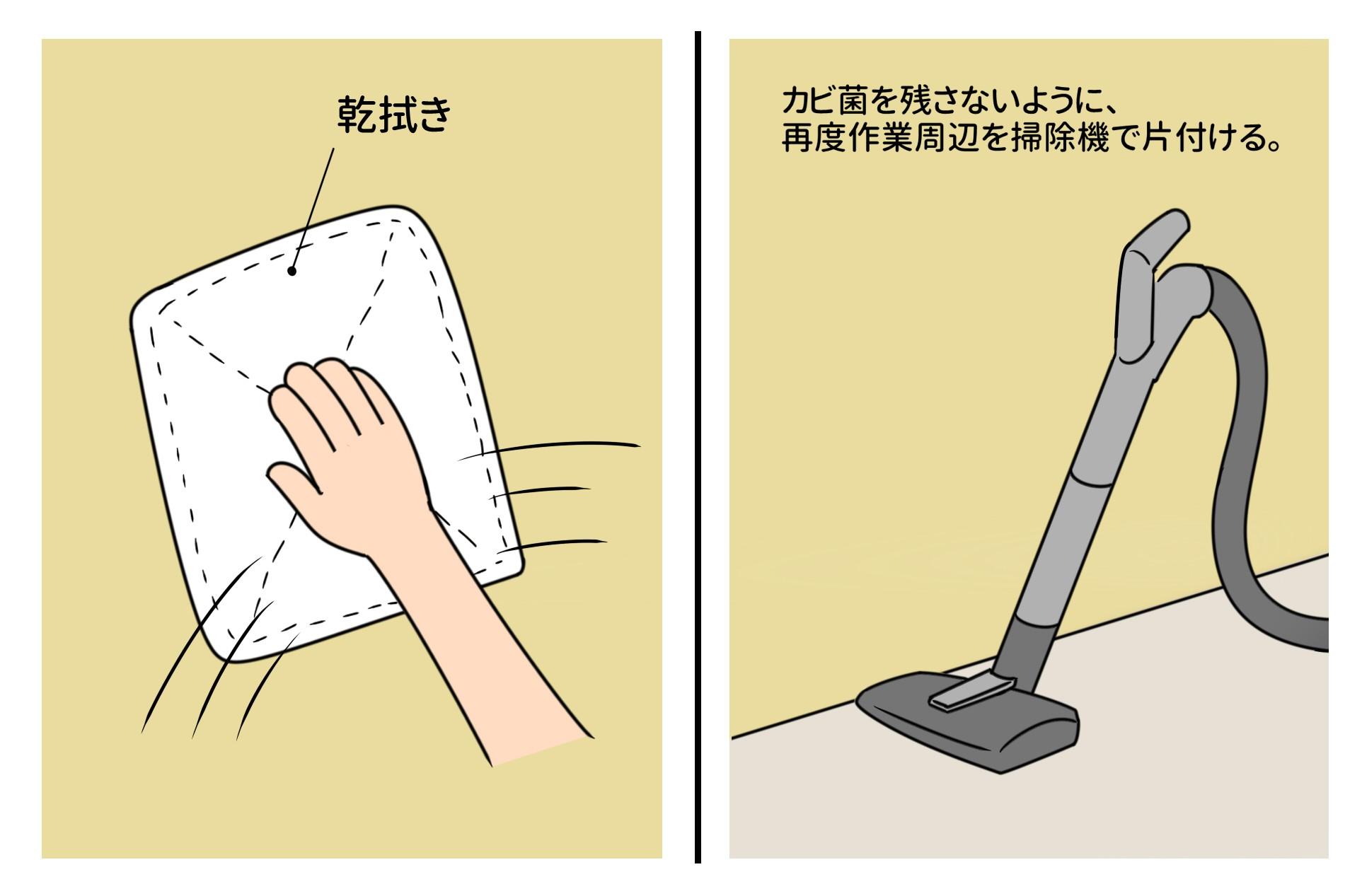 ④乾拭き&後片付けをする